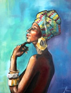 African princess, painting of an african woman, African art for sale, portrait oil on canvas custom frame nude black woman earrings bracelet
