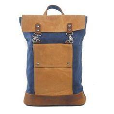 376e6be955e Vintage Canvas And Leather Backpack, Grey Unisex Shoulder Bag 2003K