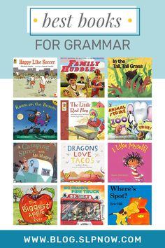 Books are an awesome way to teach grammar concepts. The list of grammar books inside is meant to provide you with resources for different grammar topics! Speech Therapy Activities, Speech Language Pathology, Language Activities, Literacy Activities, Speech And Language, Language Arts, Second Language, Play Therapy, Therapy Ideas