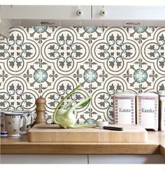 Tile Decals Stickers for Kitchen Backsplash Floor Bath Removable Waterproof: Küchen Design, Tile Design, Kitchen Shelves, Kitchen Backsplash, Shabby Chic Kitchen, Kitchen Decor, Tile Decals, Linoleum Flooring, Home Decor Trends