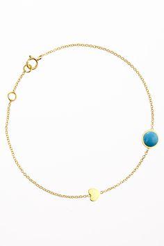 Bea Millen bracelet with 6mm turquoise and heart.  www.beamillen.com