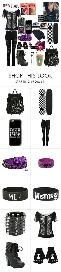 """Tokyo Ghoul OC"" by blakeisafanboi ❤ liked on Polyvore featuring Hot Topic, AC/DC, Casetify, Dorothy Perkins and Skullcandy"