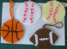 Grands love sports and play a variety of them so here are their tree ornaments, Football, basketball, baseball and softball. All made with scraps of plastic canvas and yarn. No waste no worries, happy kids and isn't Grammie great!