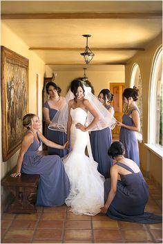 Bridesmaids Getting Ready on a Wedding Day | Gorgeous Backyard Vineyard Wedding