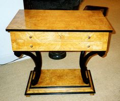Artisan Furniture & Cabinetry     German side table in Ash burl & ebony