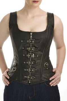 Leather strap steel boned Corset by windowdeco on Etsy, $93.00