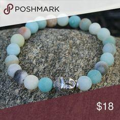 Unpolished Amazonite Buddha bracelet Handmade elastic genuine unpolished Amazonite stone with silver Buddha Jewelry