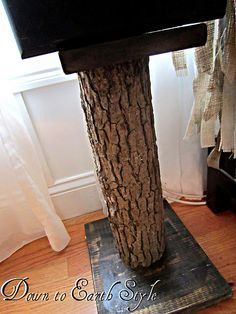 Speaker Stands made from a tree stump and scrap wood. (my blog)