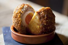 Pub Food Recipes: Scotch Eggs with Beer Mustard My sister-in-law makes these every Christmas morning and they are deliciously sinful. Irish Recipes, Egg Recipes, Gourmet Recipes, Cooking Recipes, Recipies, Scotch Eggs Recipe, Good Food, Yummy Food, Yummy Eats