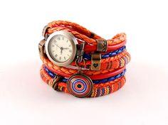 orange bracelet and a watch cuff stylish watch boho by Artmemiko
