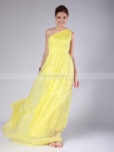 Geranium - Columna solo hombro plisado vestido de damas de honor