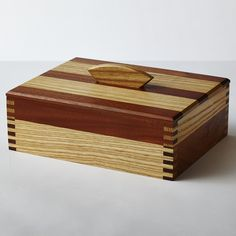 Mahogany and ash keepsake box with finger joints
