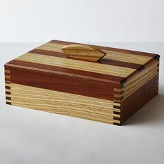 Mahogany and ash keepsake box with finger joints