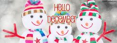 Snowman Family Hello December Facebook Cover coverlayout.com