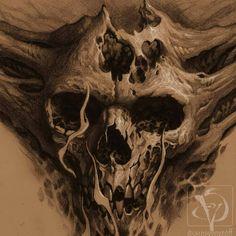 Sketch Tattoo Design, Skull Tattoo Design, Skull Tattoos, Tattoo Sketches, Body Art Tattoos, Tattoo Drawings, Dark Art Tattoo, Demon Tattoo, Gothic Tattoo