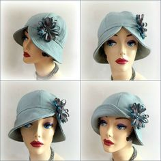 Flapper Style Cloche Vintage Inspired Hat Fall por TheWaughdrobe