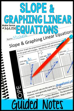 Graphing Linear Equations Guided Notes - Graphing and Slope Notes Algebra Games, Math Games, Math Activities, Math Lesson Plans, Math Lessons, Math Classroom, Classroom Resources, Solving Equations, 8th Grade Math