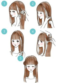 easy hairstyles These cute hairstyles are so simple to do and can be done in just minutes! Not everyone has a lot of time these days. So easy hairstyles are the way forward. Cute Quick Hairstyles, Sweet Hairstyles, Kawaii Hairstyles, Pretty Hairstyles, Cute Hairstyles, Drawing Hairstyles, Easy Hairstyle, Pinterest Hair, How To Draw Hair