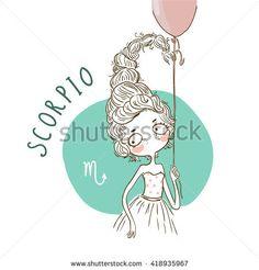 Zodiac signs Scorpio. Vector illustration of the girl.