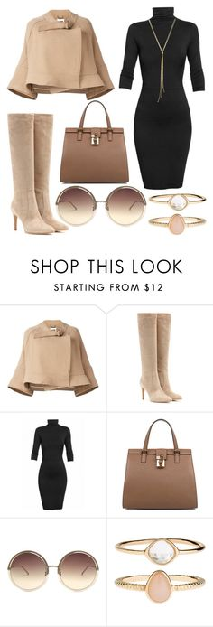 """Falling to Autum"" by ayiarundhati ❤ liked on Polyvore featuring Chloé, Gianvito Rossi, Dolce&Gabbana, Linda Farrow, Accessorize, Boots, coat, turtleneck, outwear and camel"