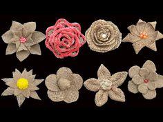 Twine Flowers, Paper Flowers Diy, Flower Crafts, Fabric Flowers, Twine Crafts, Fabric Crafts, Burlap Flower Tutorial, Burlap Projects, Burlap Fabric