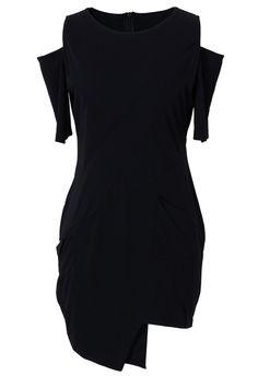cut out off the shoulder black dress w/ asymmetrical hemline