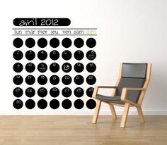 Calendrier Mural Perpétuel en adhésif ardoise par @stickerzlab, (115cmx115cm) €90,00