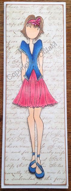 Prima doll #9, copics and scrap paper for back ground