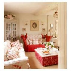 red and cream living rooms -