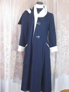 Vintage Navy Blue and White Woman's Coat with by jonscreations