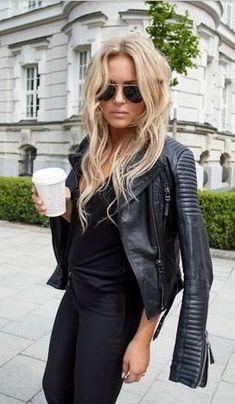 New York Style Ideas 2016. Black Leather Moto, Tunic and Pants.