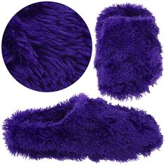 Dark Purple Fuzzy Slippers for Women - Click to enlarge