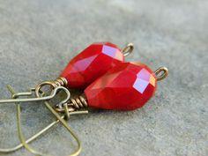 Drop Red Earrings -Red, Ruby, Crystal, Tears, Bronce, Dark, Fall, Rustic, Drop Earrings, Red Jewelry, Jewelry Earrings, Turquoise Jewelry by gabeadz on Etsy