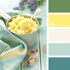 Neutral white colour from this palette creates a clear boundary between the warm yellow and cool blue. This palette can be used for a winter wedding decor.