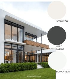 These modern exterior paint colors are perfect for your home. The best resource for modern color schemes that will look good on any home exterior. Exterior Paint Color Combinations, Exterior Color Palette, House Exterior Color Schemes, Exterior Paint Colors For House, White Exterior Paint, White Exterior Houses, Modern Exterior, Modern Home Exteriors, Interior Modern