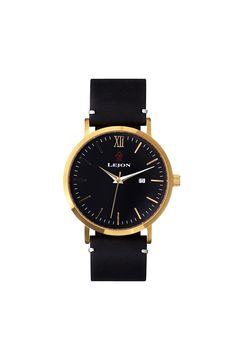 LEJON watch Vintage Gold Black - lejonwatch.com