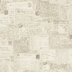 (Gran Deco Postcards Wallpaper - Neutral) This is a lovely wallpaper it's not very personal and could be created easily yourself if you were to save memories of letters ect. to stick on your wall. On the other hand it's light and cheap.