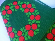 Christmas vintage retro tablecloth. Apples. Scandinavian design, made in Sweden in the 60s.