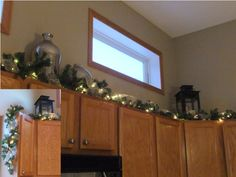 Kitchen Cupboard Christmas Garland and Lights
