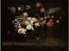 STILLEBEN MIT BLUMEN IN EINEM KORB Öl auf Leinwand. 88 x 108 cm. Expertise von Prof. Ferdinando Arisi. Dieses schöne Blumenstilleben mit seinen leuchtenden...