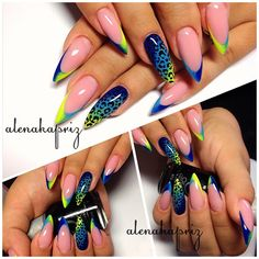 Blue Yellow Green Nails