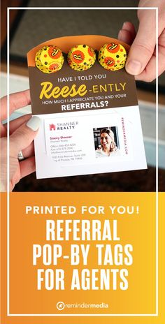 This adorable referral card is great for Halloween, Valentine's Day, or any other opportunity to put yourself in front of prospects in the sweetest way possible. Simply place a few peanut butter cups at the top and your business card at the bottom. Recipients won't be able to resist giving you a call! real estate printables - realtor marketing ideas - real estate pop-by gift tags for clients - realtor referral ideas Relationship Marketing, Referral Cards, Peanut Butter Cups, Something Sweet, Gift Tags, Printables, Marketing Ideas, Pop, Opportunity