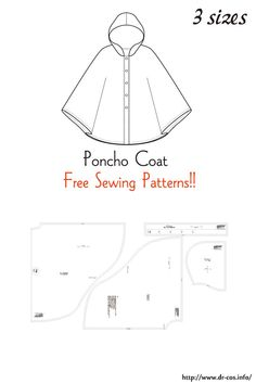 This is the pattern of a Poncho Coat. Poncho Pattern Sewing, Pattern Drafting, Dress Sewing Patterns, Doll Clothes Patterns, Sewing Patterns Free, Free Sewing, Sewing Clothes, Clothing Patterns, Hoodie Pattern