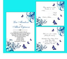 100 Personalized butterfly  Wedding Invitations, blue, rsvp cards, reception