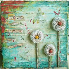 Awesome 3D mixed-media canvas by Janie Husband