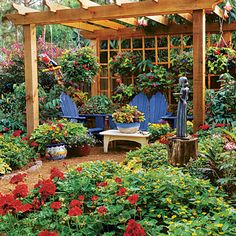 Hanging Annuals    Use an outdoor room, like the space under a pergola, as a place to mix your containers. This grouping has a lush, vibrant mix of planters and hanging pots.