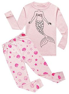 Family Feeling Mermaid Baby Girls Long Sleeve Pajamas Sets 100% Cotton Pyjamas Toddler Infant Kids 18-24 Months Pink Purple