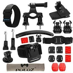 PULUZ 24 in 1 Bike Mount Accessories Kit (Wrist / Helmet Strap   Extension Arm   Quick Release Buckles   Handlebar / Surface Mounts   Tripod Adapter   Screws etc.) for GoPro HERO 4 /3  /3 /2 /1 -- Visit the image link more details.