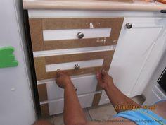 adding trim & Beadboard Wallpaper in Kitchen Cabinets