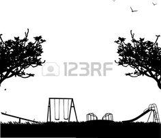 Aire de jeux pour enfants avec différents objets en silhouette parc